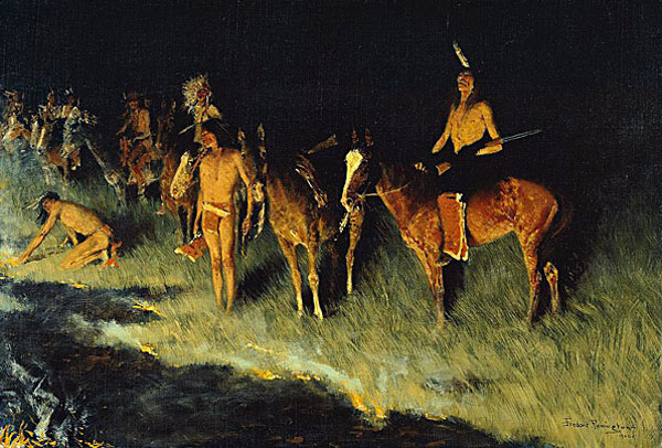 Native Americans setting grass fire, painting by Frederic Remington, 1908