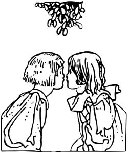 The kiss under mistletoe