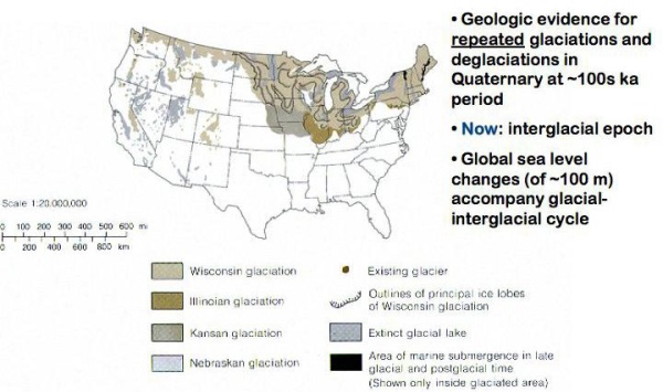 Glaciers in the US in past 100,000 years.