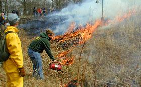 Annual Prairie Burn, Green Oaks, Knox College
