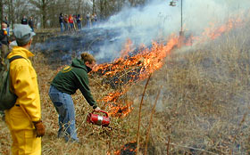 Annual Prairie Burn, Green Oaks, Knox College