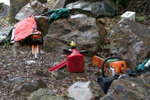 Shelterbelt's tools:  chainsaws and equipment to spray herbicides