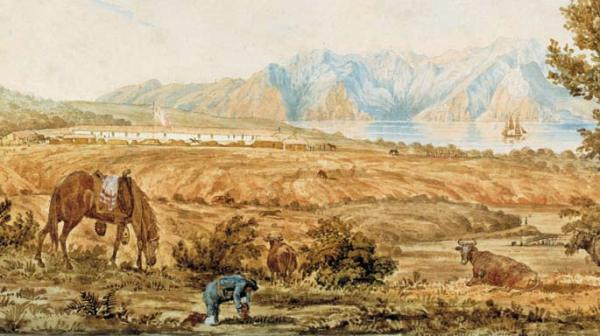 The San Francisco Presidio, painting by Richard Beechey, 1826