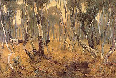 The Australian eucalyptus forest as painted by Hans Heysen:  Mystic Morn, 1904