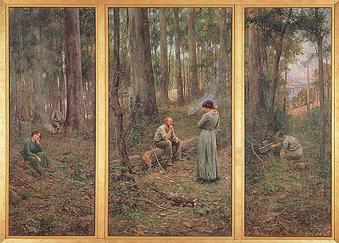 Australian eucalyptus forest as painted by Frederick McCubbin:  The Pioneer, 1904