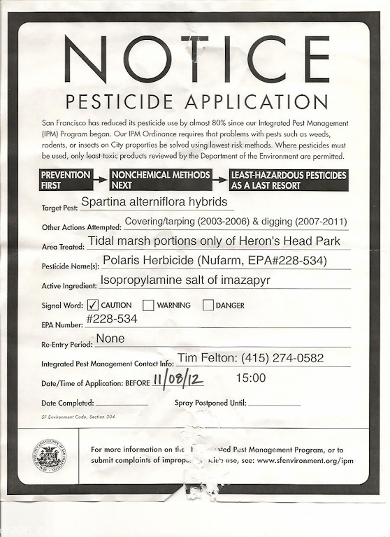 Pesticide Application Notice, Heron's Head, 2012