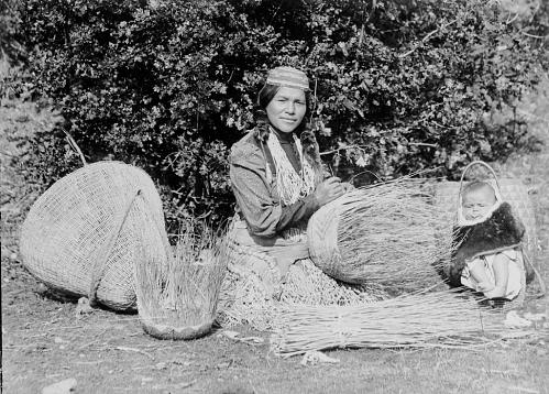 Karok basket maker, 1894.  Smithsonian photo archive