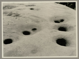 Miwok mortars where seeds and nuts were ground.  Smithsonian archive