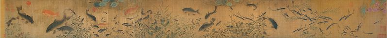 Song dynasty painting attributed to Liu Cai (c.1080–1120). Contains various types of fish and other marine animals, such as goldfish, perch, catfish, carp, minnows, bass, and shrimp.