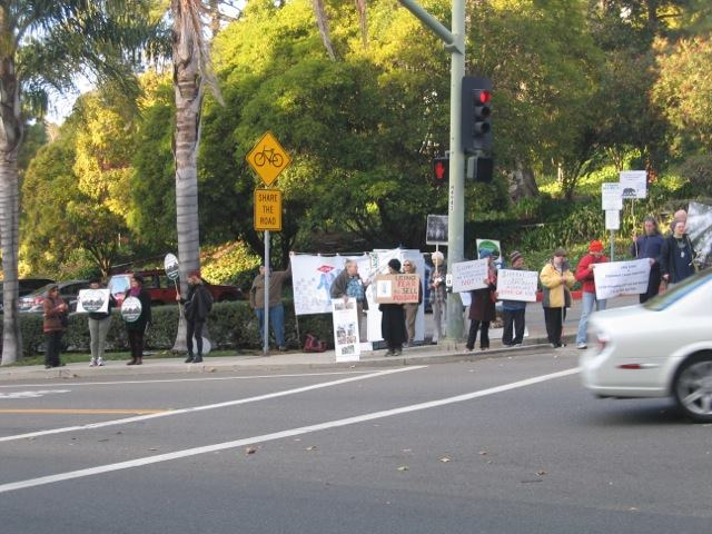 Demonstration at meeting of Claremont Canyon Conservancy, November 15, 2015