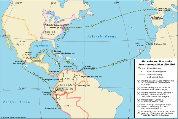 Journey of Alexander von Humboldt in the New World, 1799-1804. Creative Commons - Share Alike