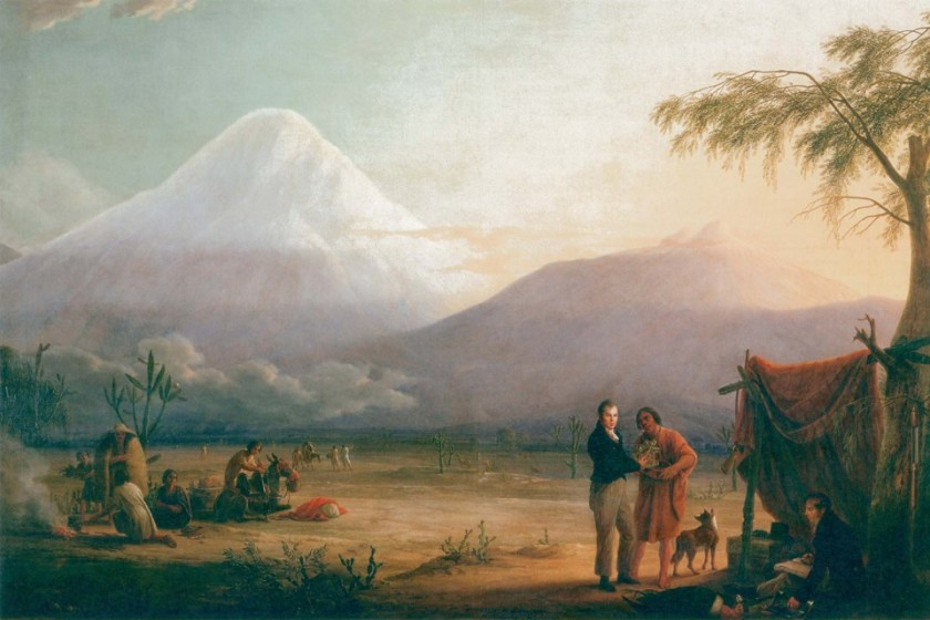 Alexander von Humboldt collecting plants at the foot of Chimborazo. Painting by Friedrich George Weitsch