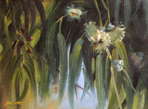 Eucalyptus and bee. Painting by Brian Stewart.